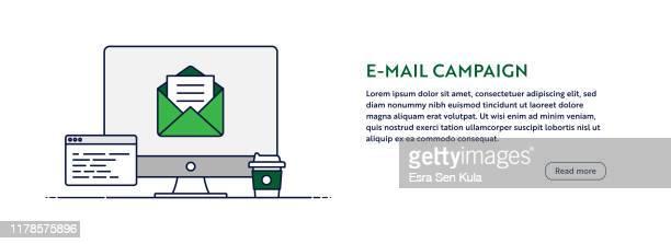 stockillustraties, clipart, cartoons en iconen met e-mail campagne concept met illustratie van lijn computer. minimaal ontwerp voor web banner, poster, flyer en brochure sjabloon met letter pictogram. - e mail