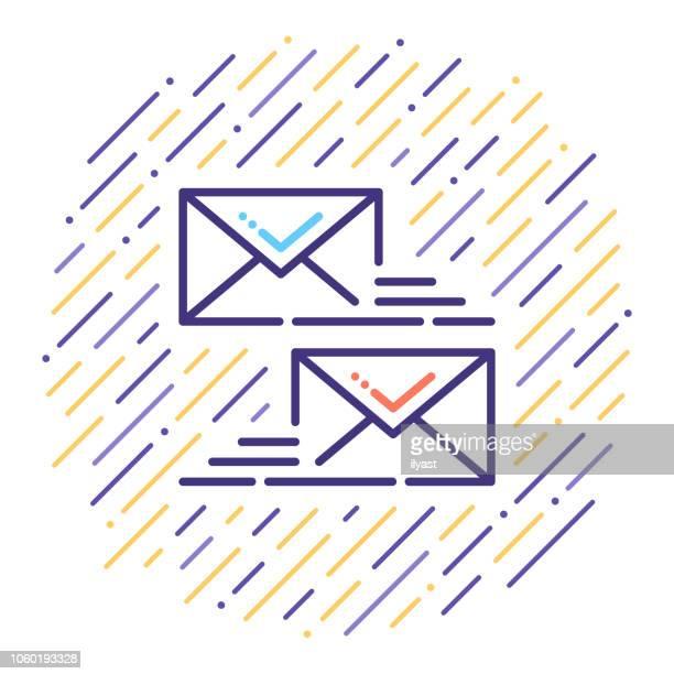 ilustraciones, imágenes clip art, dibujos animados e iconos de stock de correo electrónico certificado línea icono ilustración - firma