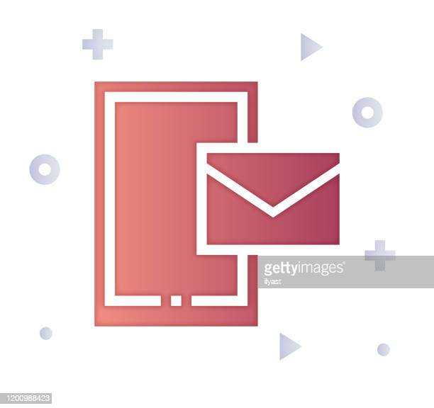 email communication gradient & fill color icon design - newsletter stock illustrations