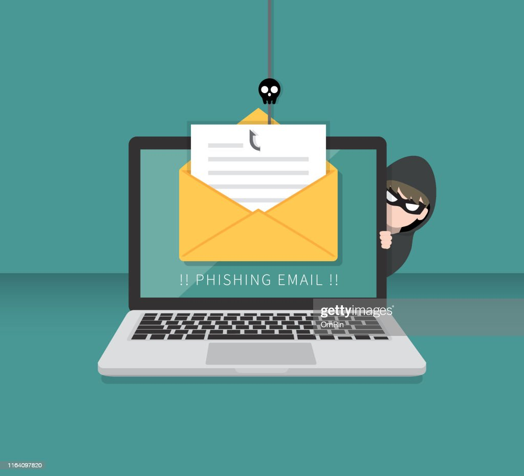 Email data phishing with cyber thief hide behind Laptop computer. Hacking concept. : Stock Illustration