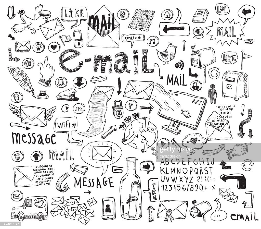 E-mail doodle set. Hand-drawn vector illustration.