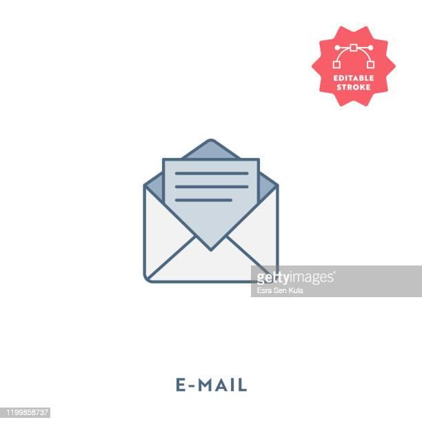 stockillustraties, clipart, cartoons en iconen met e-mail plat pictogram met bewerkbare lijn en pixel perfect. - e mail
