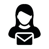 Email Icon vector with person female symbol profile avatar pictogram
