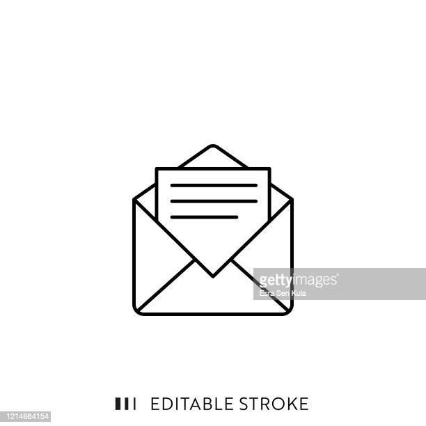 stockillustraties, clipart, cartoons en iconen met pictogram e-mail met bewerkbare slag en pixel perfect. - e mail