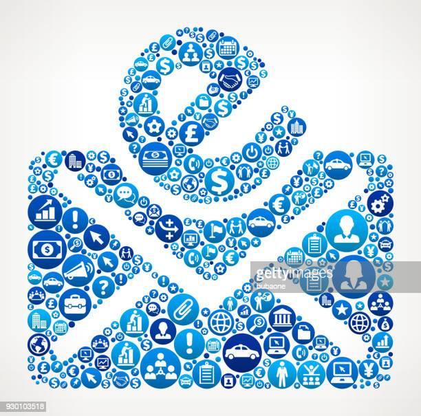 stockillustraties, clipart, cartoons en iconen met e-brief business en financiën blauwe pictogram patroon - e mail