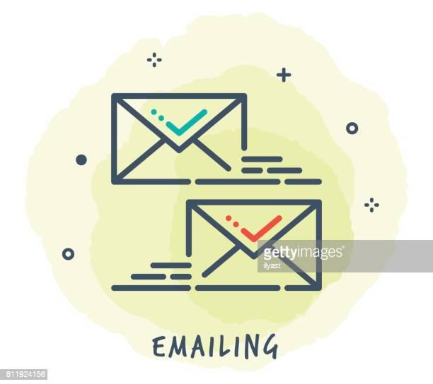 email line icon - sentando stock illustrations