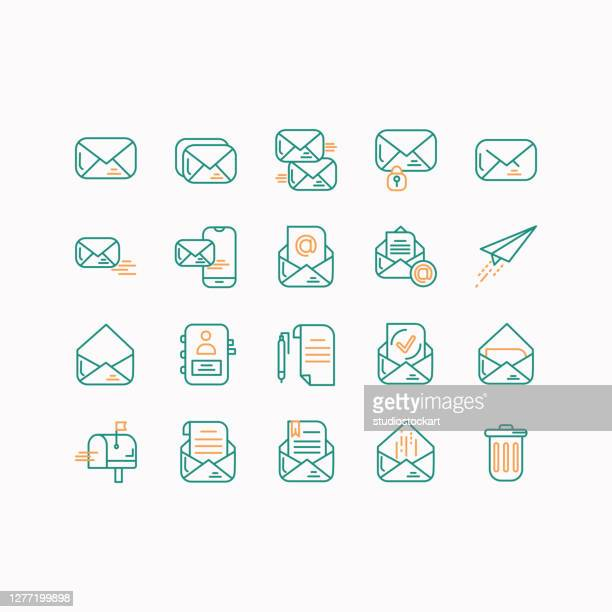 email line icons set. - two tone color stock illustrations