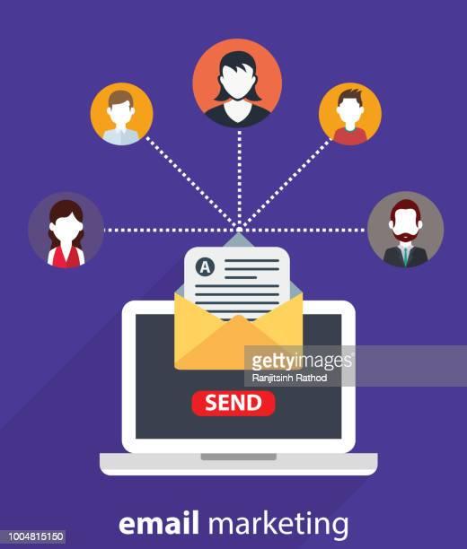 電子メールマーケティング、企業のコンセプト - send点のイラスト素材/クリップアート素材/マンガ素材/アイコン素材