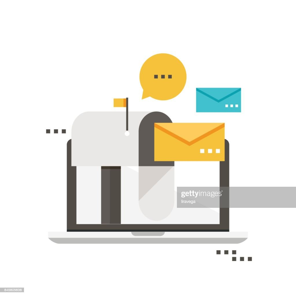 Email marketing, inbox message, email news, subscription, promotion flat vector illustration design