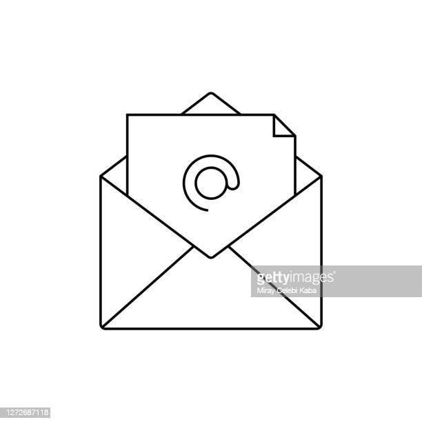 stockillustraties, clipart, cartoons en iconen met pictogram e-mailmarketinglijn - e mail