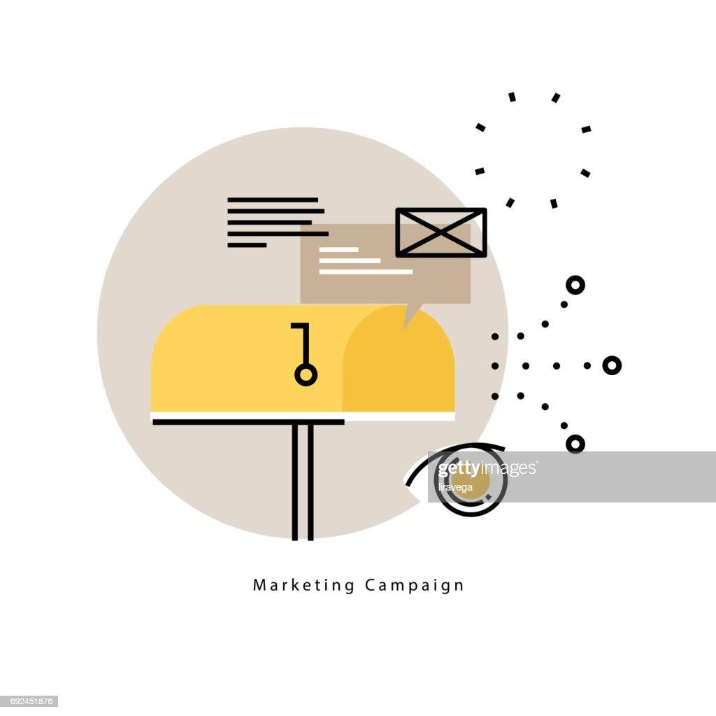 E-mail marketing, online advertising flat vector illustration