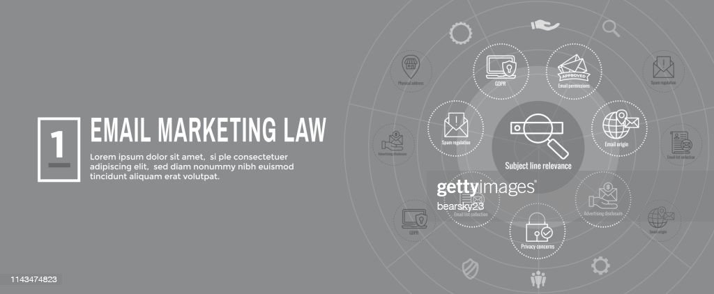 Email Marketing Rules and Regulations Icon Set & Web Header Banner