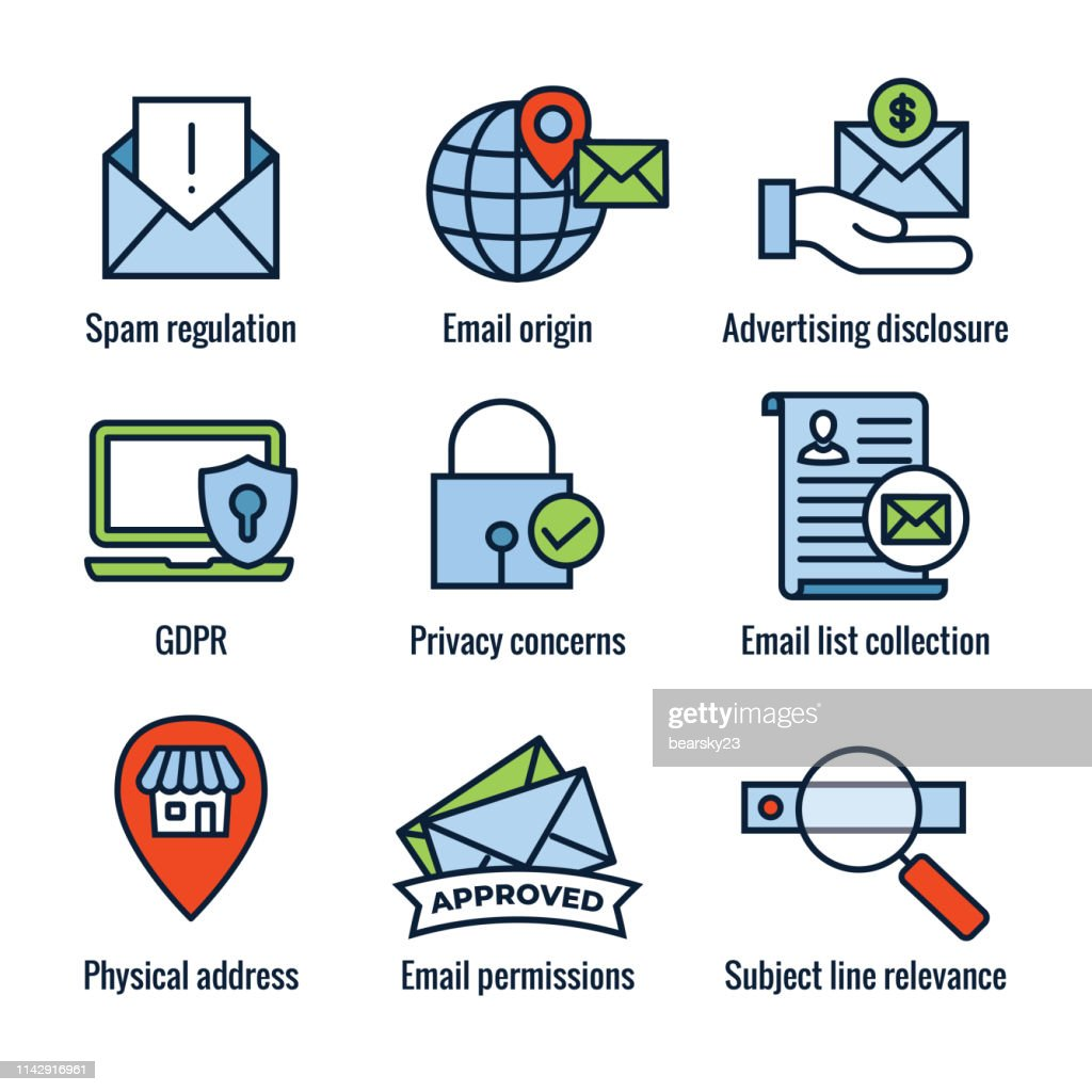 Email Marketing Rules - Regulations Icon Set