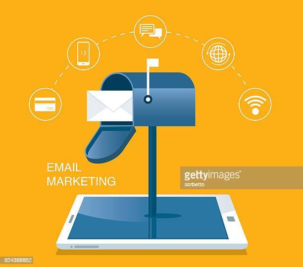 電子メールマーケティング - 発送書類入れ点のイラスト素材/クリップアート素材/マンガ素材/アイコン素材