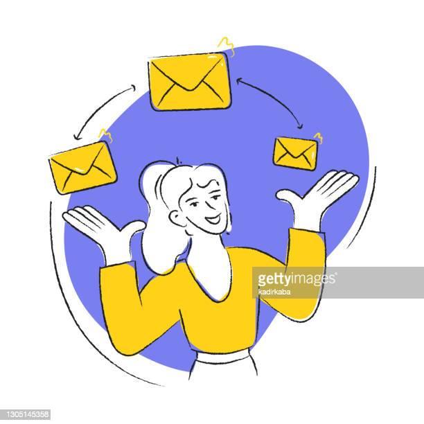 stockillustraties, clipart, cartoons en iconen met e-mail marketing vector illustratie in een platte stijl - e mail