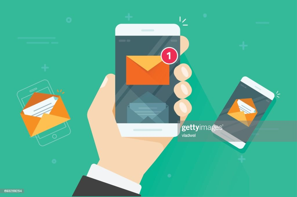 Email mobile phone notifications vector illustration, flat cartoon smartphone with read and unread inbox messages, mail on cellphone