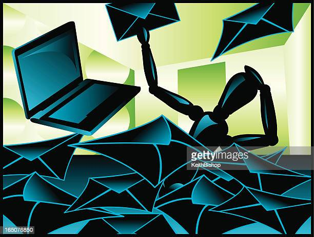 e-mail overload - buried stock illustrations, clip art, cartoons, & icons