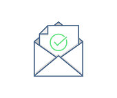 Email Sent or Received icon concept. Envelope with check mark vector design