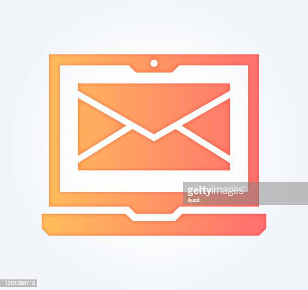 email services gradient fill color & paper-cut style icon design - newsletter stock illustrations