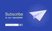 Email subscribe, online newsletter vector template with plane and submit button for website. Modern vector illustration