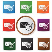 Email symbol,Colorful buttons,vector