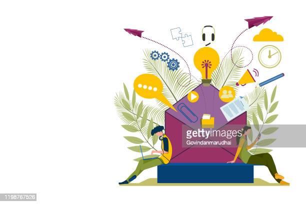 e-mail - customer engagement marketing stock-grafiken, -clipart, -cartoons und -symbole