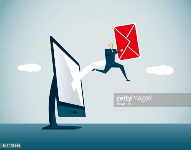 illustrations, cliparts, dessins animés et icônes de e-mail - facteur