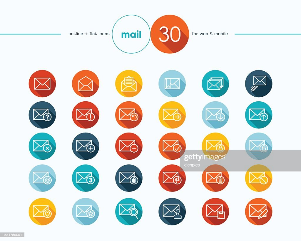 Emailing flat icons outline style set