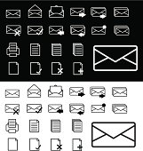 email/internet icons b&w