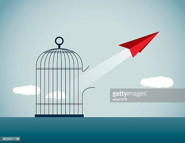 emancipate - birdcage stock illustrations, clip art, cartoons, & icons