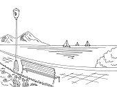 Embankment graphic black white sea landscape sketch illustration vector