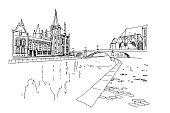 Embankment Graslei and medieval buildings. Ghent, Belgium.