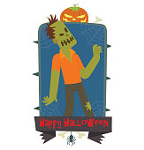 Emblem Happy Halloween, funny zombie walking somewhere