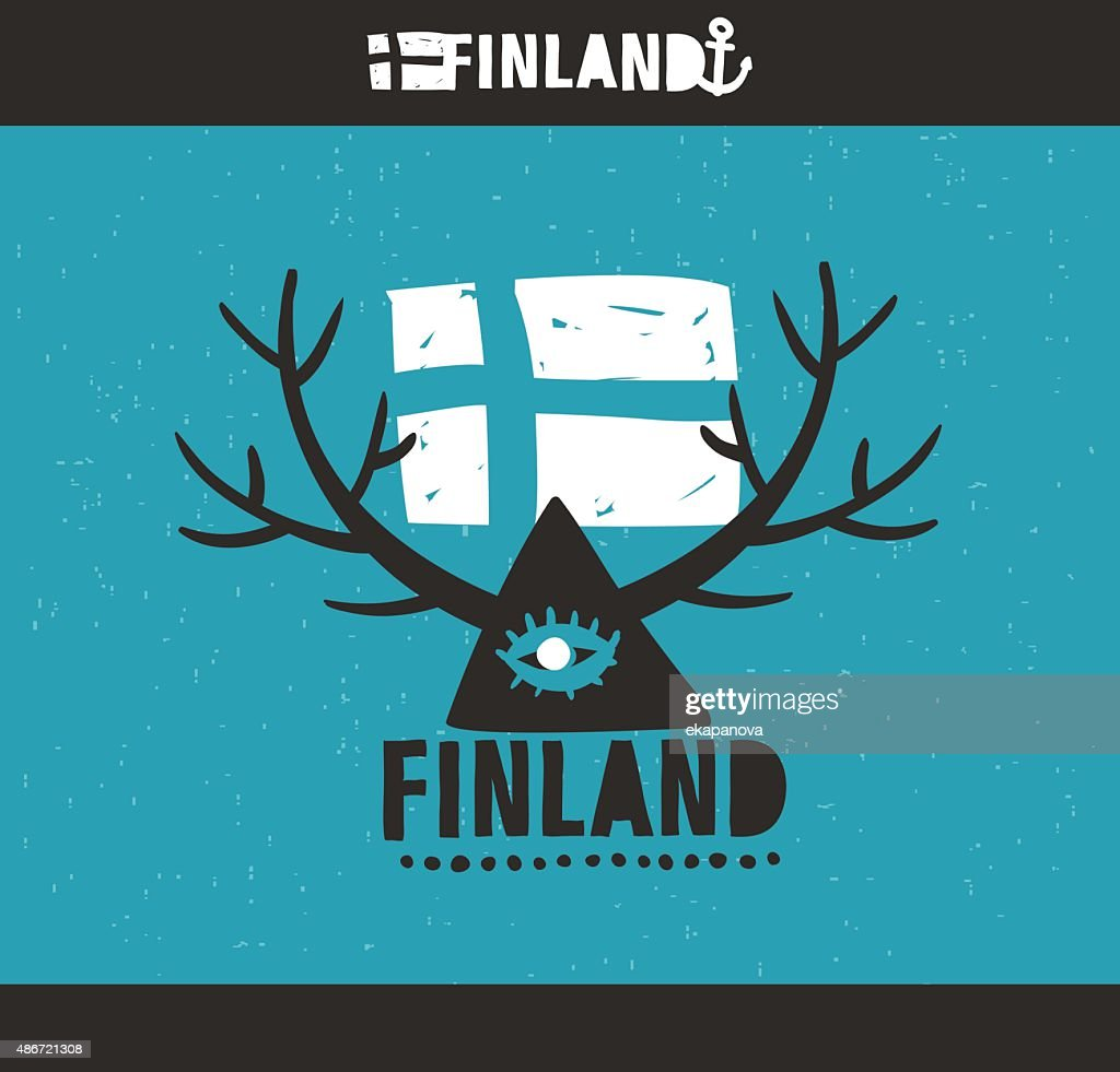 Emblem of Finland with hand drawn image.