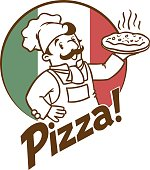 Emblem of funny cook or baker with pizza and