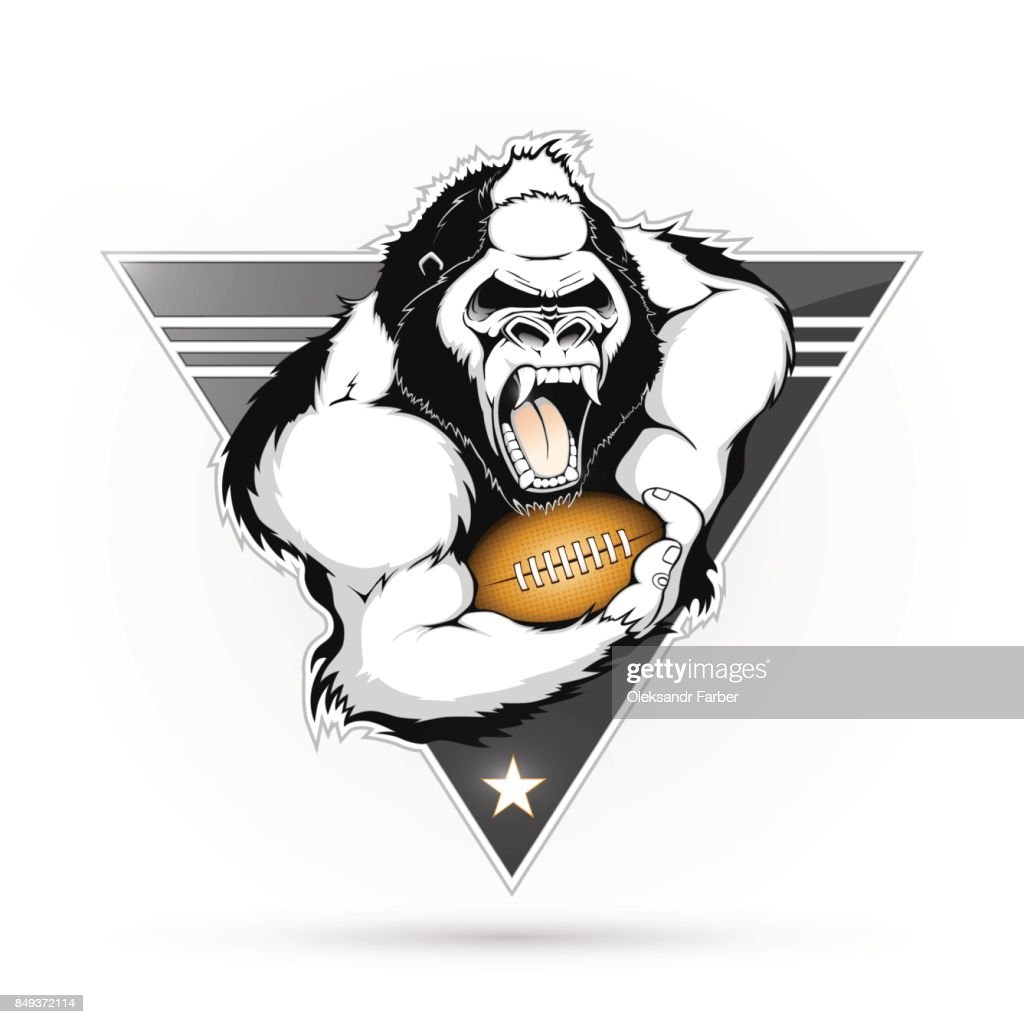 Emblem of the gorilla with the ball for American football