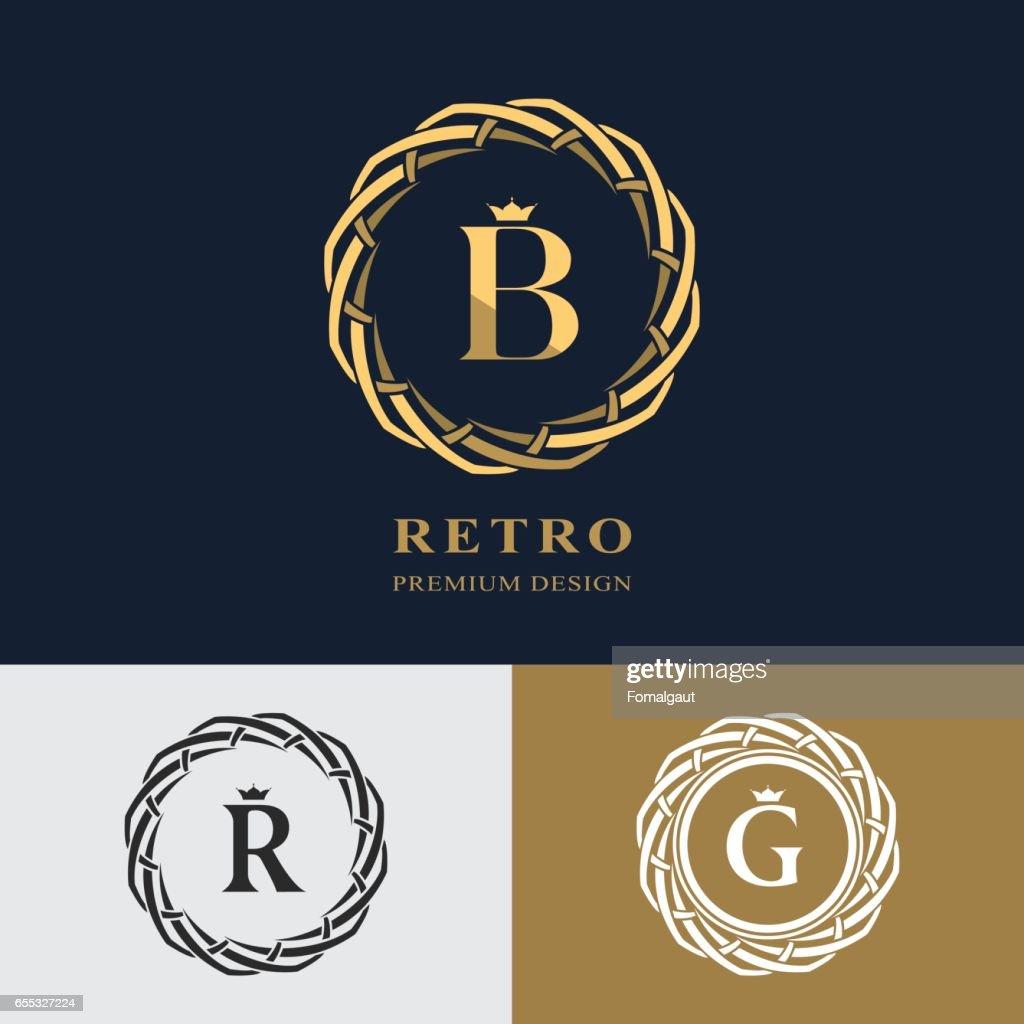 Emblem Of The Weaving Circle Monogram Design Elements Graceful ...