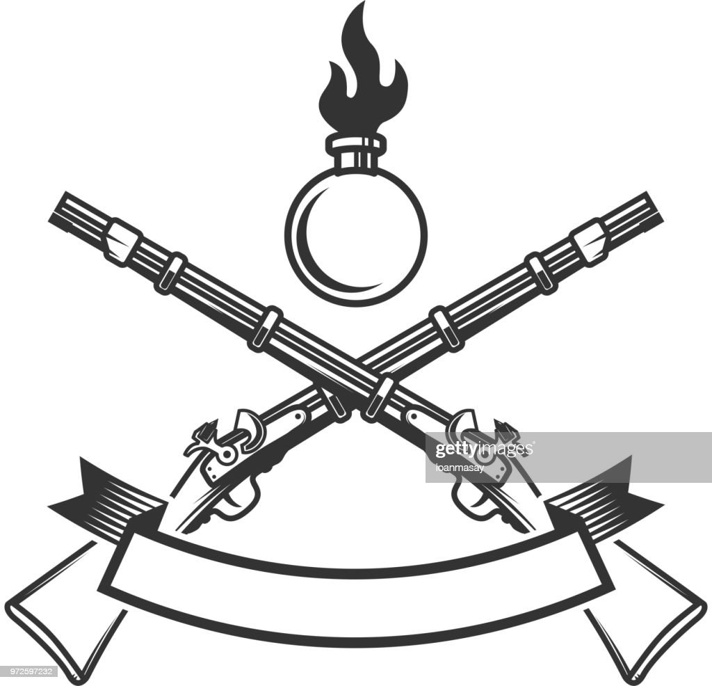 Emblem template with ancient rifle. Design element for  label, poster, print, card, banner, sign.