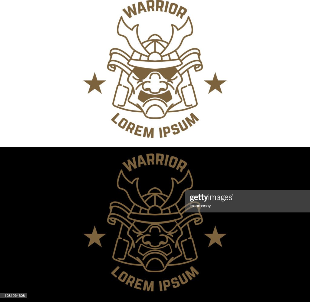 Emblem template with samurai helmet in line style. Design element for label, sign, poster, t shirt.
