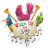 "Emblem ""Wake up and sing"", blue, pink, green birds"