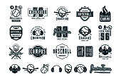 Emblems and badges set of campus baseball team