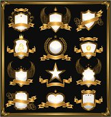 Emblems in gold