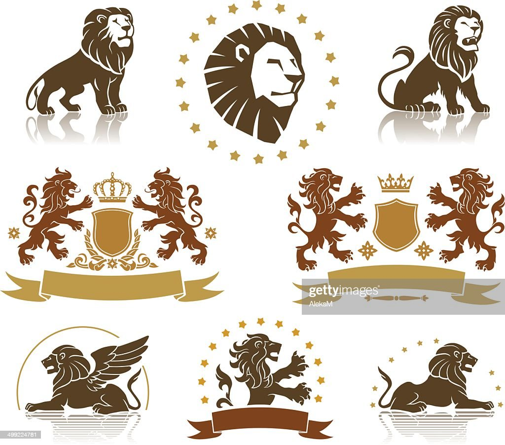 Emblems Set with Heraldic Lions