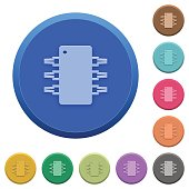 Embossed integrated circuit buttons
