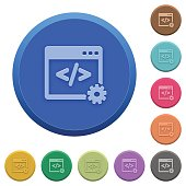 Embossed web development buttons