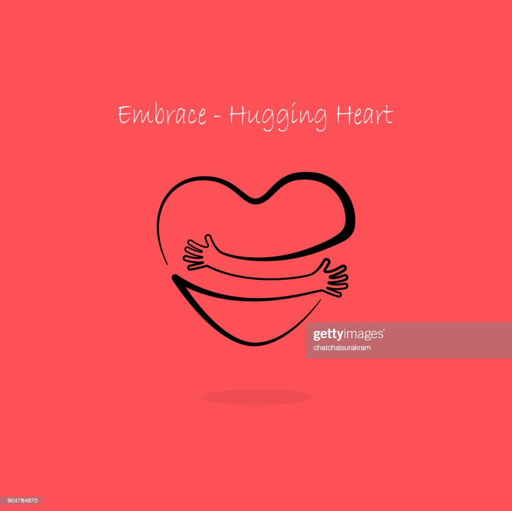 Embrace,Hugging heart symbol.Hug yourself icon.Love yourself sign.Love and Heart Care icon.Hand with Heart shape and healthcare & medical concept.
