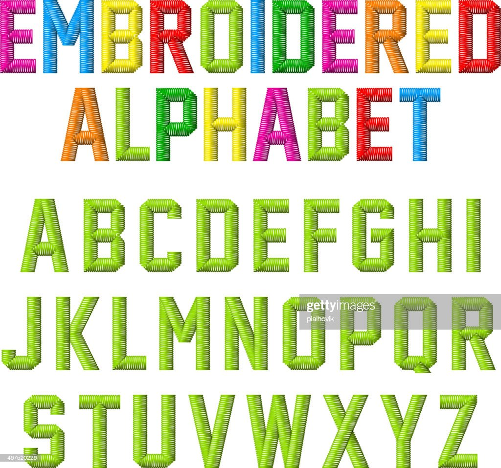 Embroidered font, alphabet