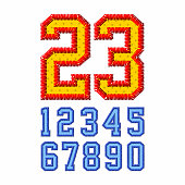 Embroidered font numbers