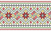 embroidered good like old handmade cross-stitch ethnic pattern. Muslim motif