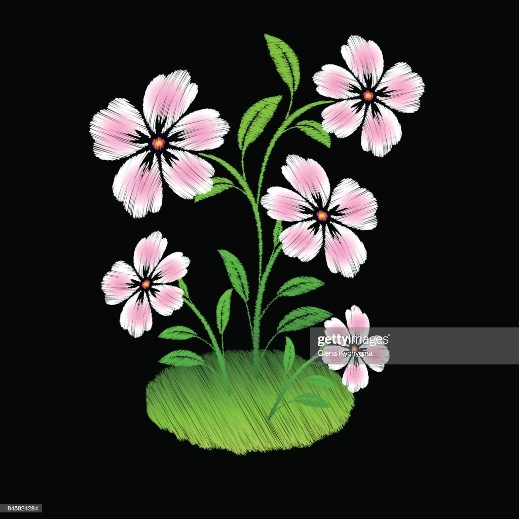 Embroidered Pink Flowers On Black Background Vector Art Getty Images